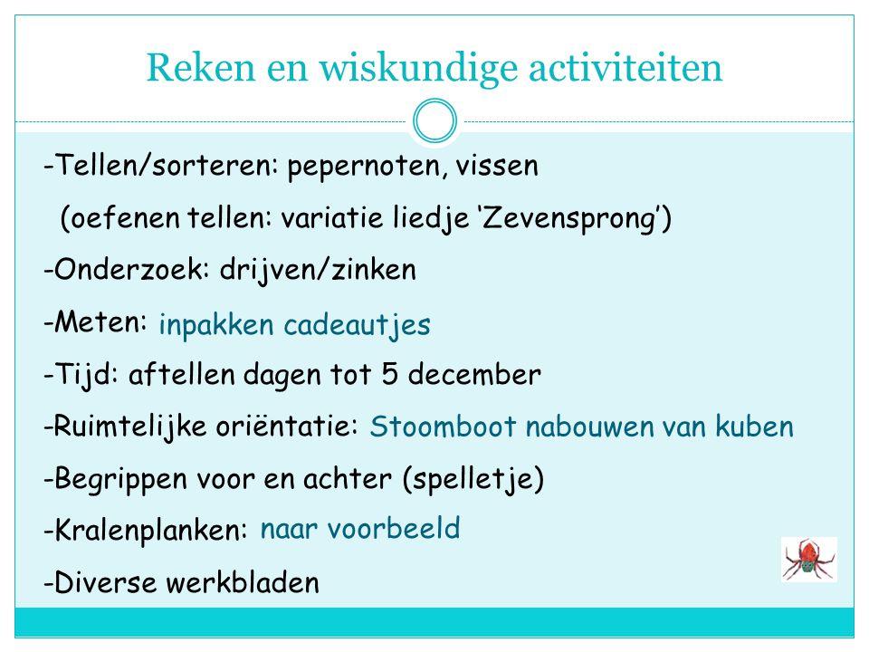Lees-schrijfactiviteiten -Lettertafel: 'V' van 'vis', 'P' van 'Piet' -Verhalen: waterwereld en Sinterklaas -Documentatiemat.: prentenboeken boeken met