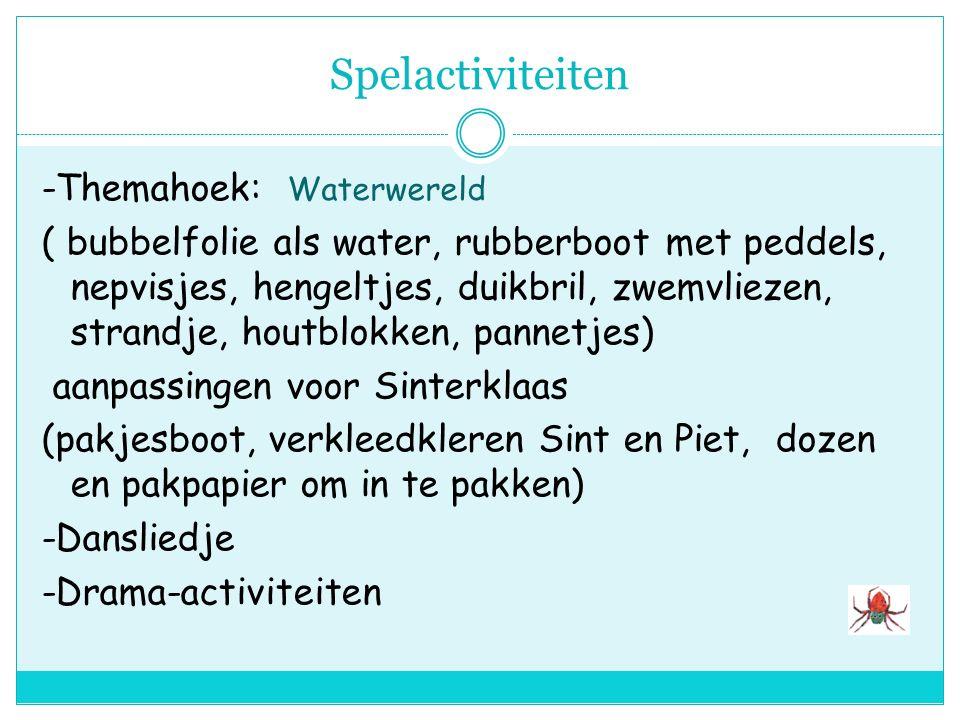 Constructieve en beeldende activiteiten -Kralenplanken: naar voorbeeld -Ruimtelijke -Stoomboot: dozen, kosteloos mat., verf -Sinthoed maken -Stoel van