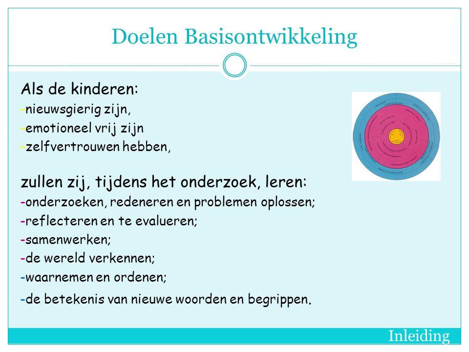 Doelen Basisontwikkeling Als de kinderen: -nieuwsgierig zijn, -emotioneel vrij zijn -zelfvertrouwen hebben, zullen zij, tijdens het onderzoek, leren: -onderzoeken, redeneren en problemen oplossen; -reflecteren en te evalueren; -samenwerken; -de wereld verkennen; -waarnemen en ordenen; -de betekenis van nieuwe woorden en begrippen.