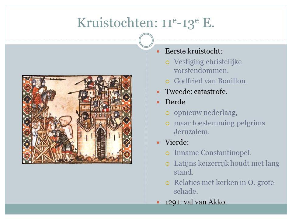 Kruistochten: 11 e -13 e E. Eerste kruistocht:  Vestiging christelijke vorstendommen.