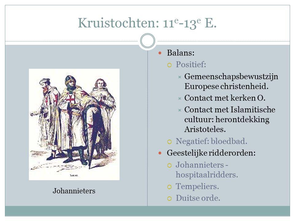 Kruistochten: 11 e -13 e E. Balans:  Positief:  Gemeenschapsbewustzijn Europese christenheid.