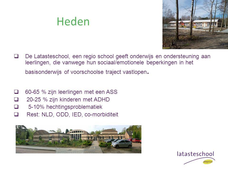 Heden  De Latasteschool, een regio school geeft onderwijs en ondersteuning aan leerlingen, die vanwege hun sociaal/emotionele beperkingen in het basisonderwijs of voorschoolse traject vastlopen.