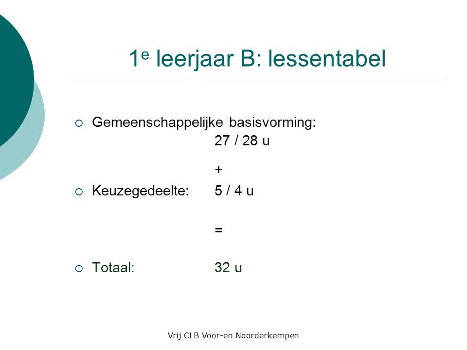 1 e leerjaar B:lessentabel  Gemeenschappelijke basisvorming: 27 / 28 u +  Keuzegedeelte: 5 / 4 u =  Totaal: 32 u Vrij CLB Voor-en Noorderkempen