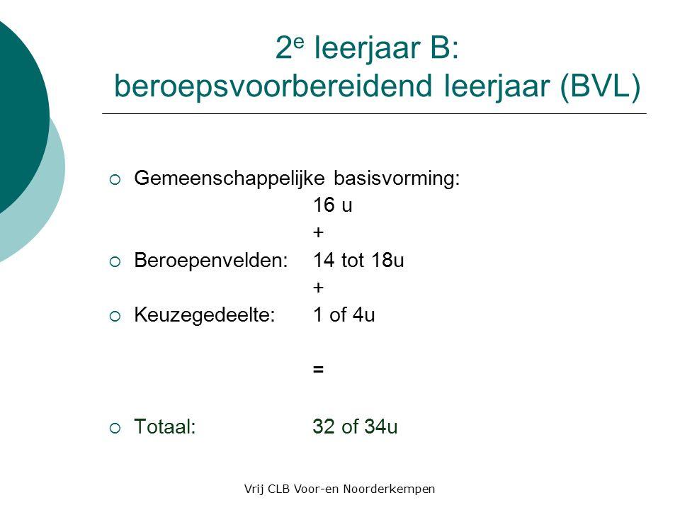 2 e leerjaar B: beroepsvoorbereidend leerjaar (BVL)  Gemeenschappelijke basisvorming: 16 u +  Beroepenvelden: 14 tot 18u +  Keuzegedeelte:1 of 4u =  Totaal: 32 of 34u Vrij CLB Voor-en Noorderkempen