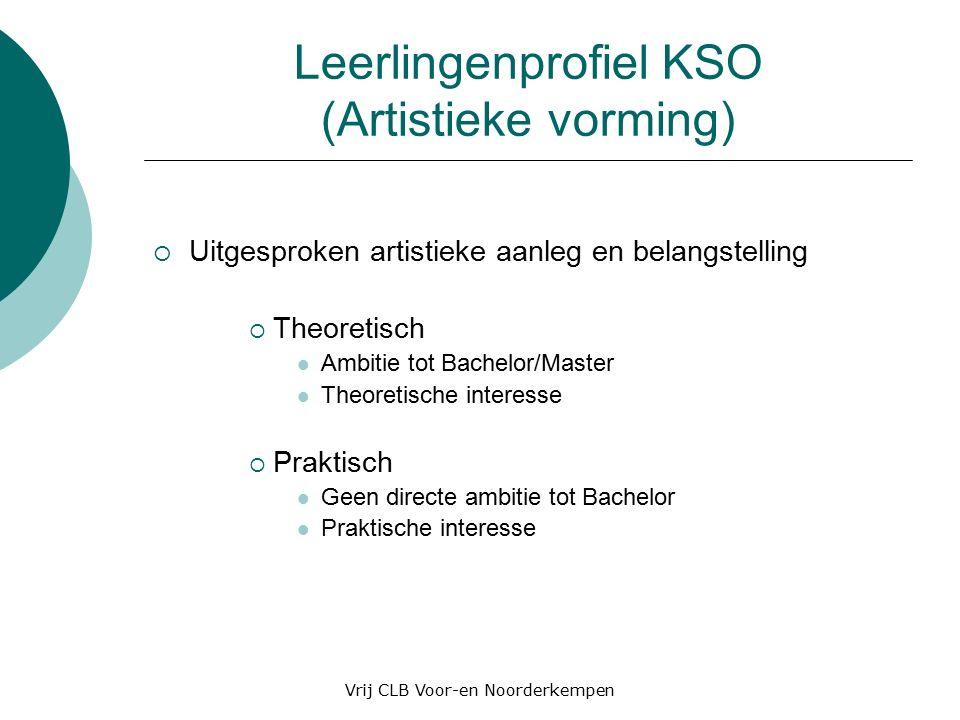 Leerlingenprofiel KSO (Artistieke vorming)  Uitgesproken artistieke aanleg en belangstelling  Theoretisch Ambitie tot Bachelor/Master Theoretische interesse  Praktisch Geen directe ambitie tot Bachelor Praktische interesse Vrij CLB Voor-en Noorderkempen