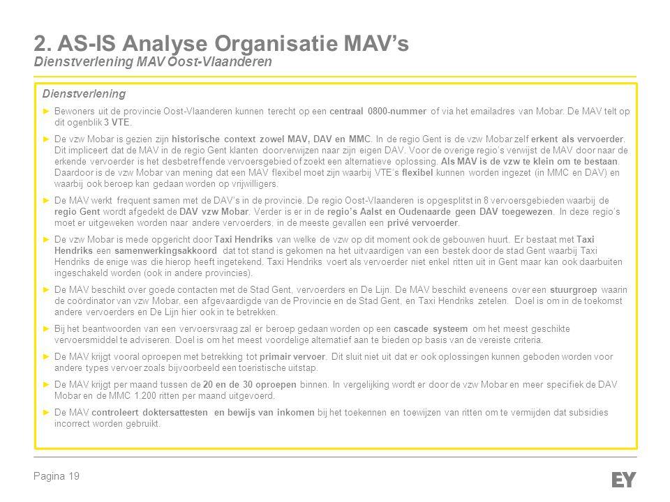 Pagina 19 2. AS-IS Analyse Organisatie MAV's Dienstverlening MAV Oost-Vlaanderen Dienstverlening ►Bewoners uit de provincie Oost-Vlaanderen kunnen ter