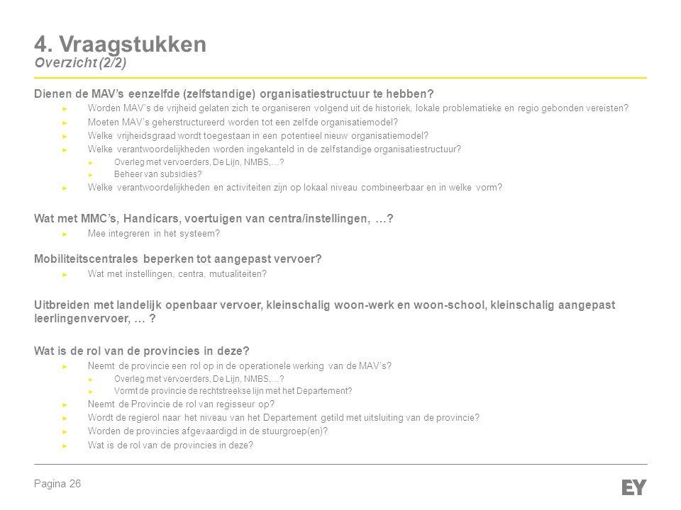 Pagina 26 4. Vraagstukken Overzicht (2/2) Dienen de MAV's eenzelfde (zelfstandige) organisatiestructuur te hebben? ► Worden MAV's de vrijheid gelaten