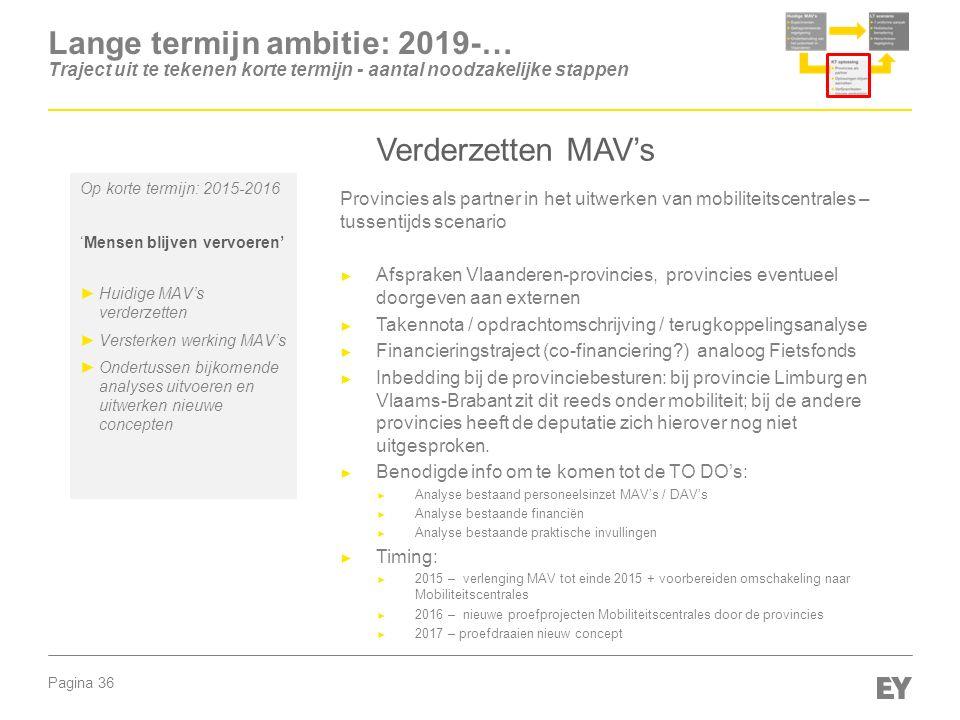 Pagina 36 Provincies als partner in het uitwerken van mobiliteitscentrales – tussentijds scenario ► Afspraken Vlaanderen-provincies, provincies eventu