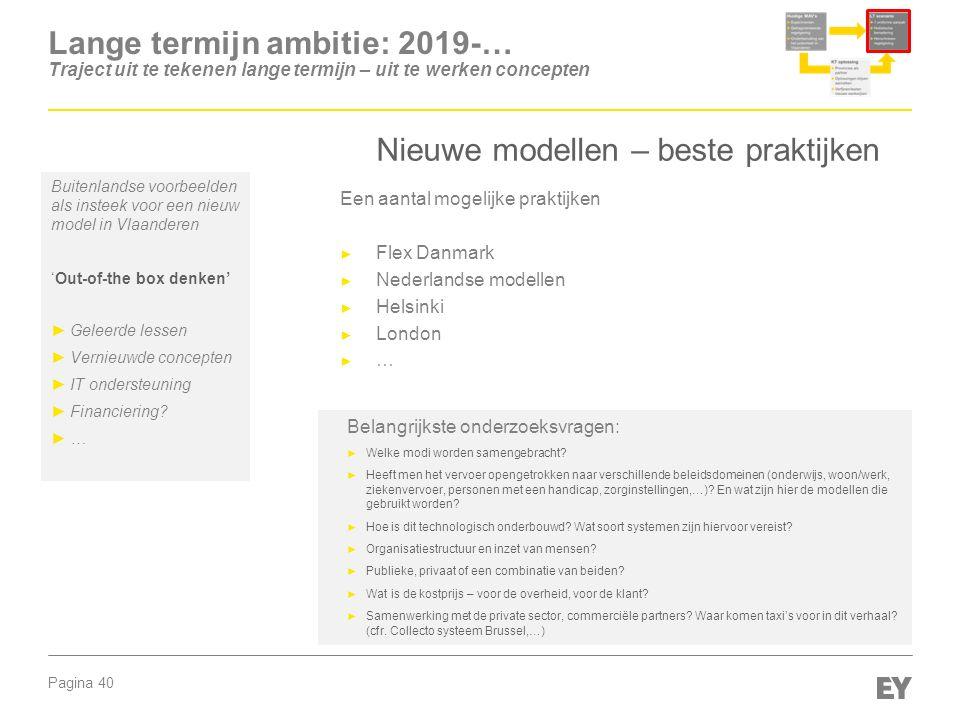 Pagina 40 Lange termijn ambitie: 2019-… Traject uit te tekenen lange termijn – uit te werken concepten Nieuwe modellen – beste praktijken Buitenlandse voorbeelden als insteek voor een nieuw model in Vlaanderen 'Out-of-the box denken' ►Geleerde lessen ►Vernieuwde concepten ►IT ondersteuning ►Financiering.