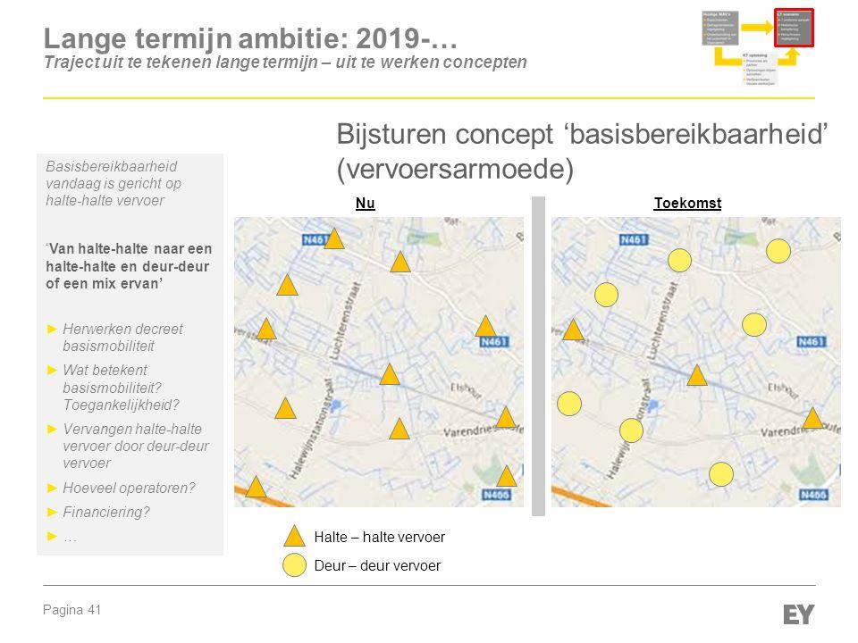 Pagina 41 Lange termijn ambitie: 2019-… Traject uit te tekenen lange termijn – uit te werken concepten Bijsturen concept 'basisbereikbaarheid' (vervoe