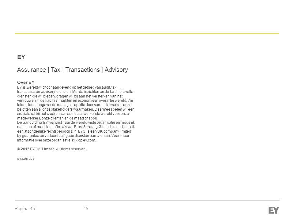 Pagina 45 EY Assurance | Tax | Transactions | Advisory Over EY EY is wereldwijd toonaangevend op het gebied van audit, tax, transacties en advisory-diensten.