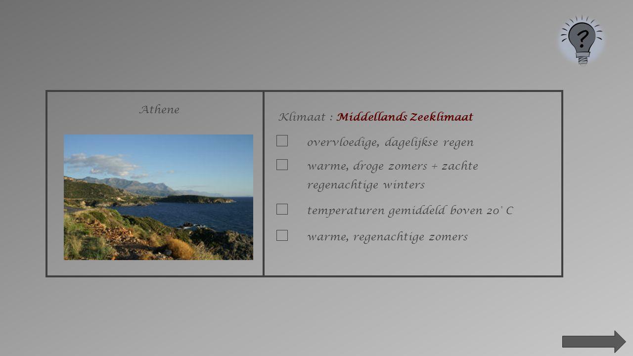 Athene Klimaat : ___________________________ poolklimaat evenaarsklimaatwoestijnklimaatMiddellands zeeklimaat gematigd zeeklimaattropenklimaat