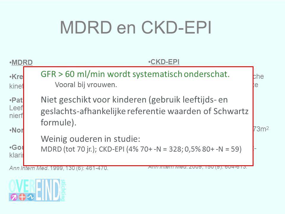 MDRD en CKD-EPI CKD-EPI Kreatinine bepaling: enzymatische methode (of gekalibreerd aan deze methode).