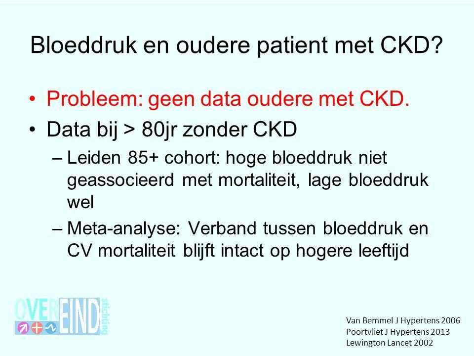 Bloeddruk en oudere patient met CKD. Probleem: geen data oudere met CKD.