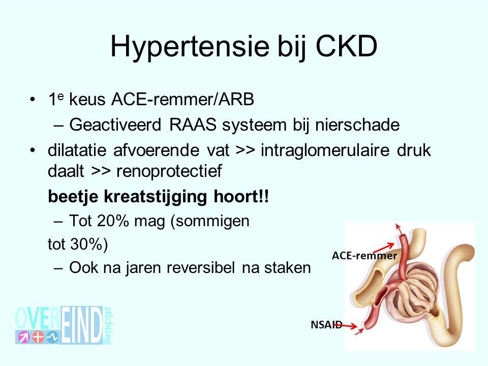 Hypertensie bij CKD 1 e keus ACE-remmer/ARB –Geactiveerd RAAS systeem bij nierschade dilatatie afvoerende vat >> intraglomerulaire druk daalt >> renoprotectief beetje kreatstijging hoort!.