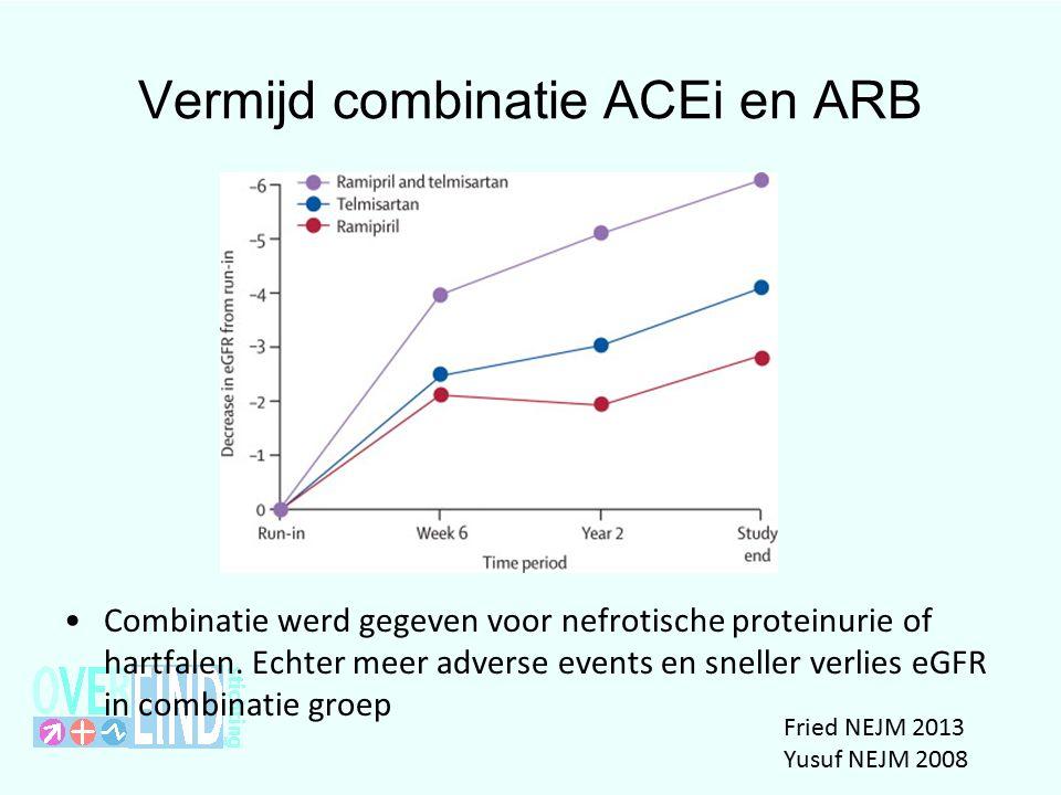 Vermijd combinatie ACEi en ARB Combinatie werd gegeven voor nefrotische proteinurie of hartfalen.
