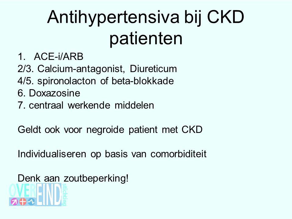 Antihypertensiva bij CKD patienten 1.ACE-i/ARB 2/3.