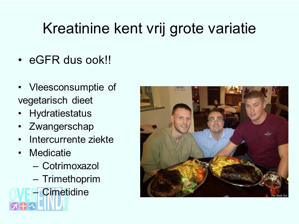 Kreatinine kent vrij grote variatie eGFR dus ook!.