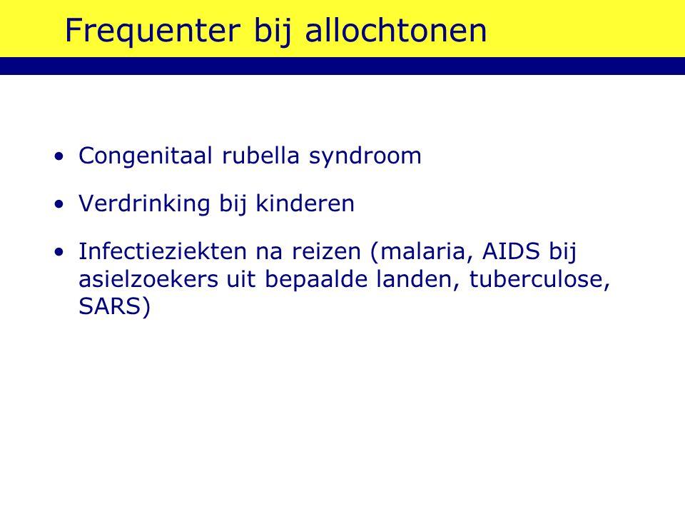 Frequenter bij allochtonen Congenitaal rubella syndroom Verdrinking bij kinderen Infectieziekten na reizen (malaria, AIDS bij asielzoekers uit bepaalde landen, tuberculose, SARS)