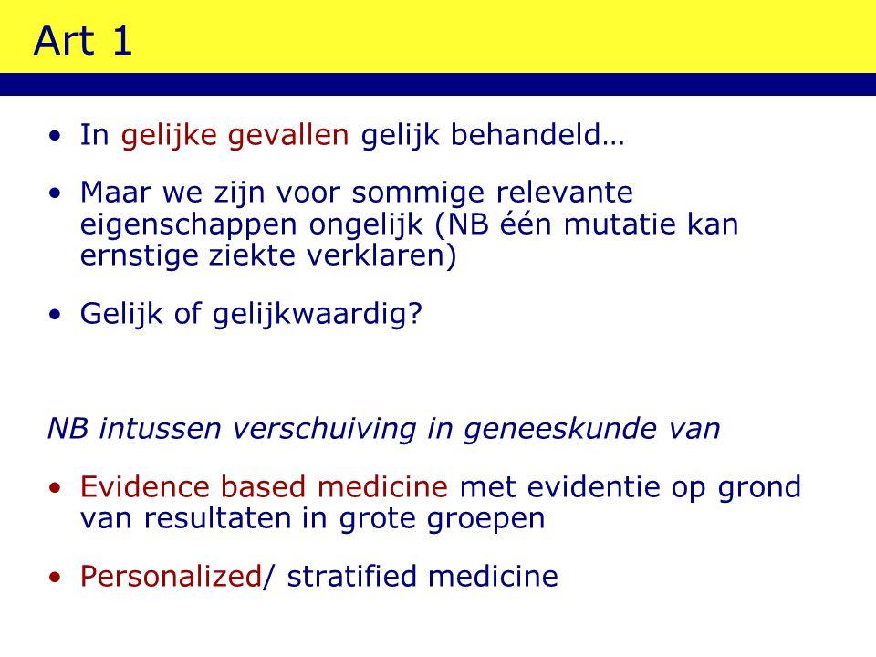 Art 1 In gelijke gevallen gelijk behandeld… Maar we zijn voor sommige relevante eigenschappen ongelijk (NB één mutatie kan ernstige ziekte verklaren) Gelijk of gelijkwaardig.