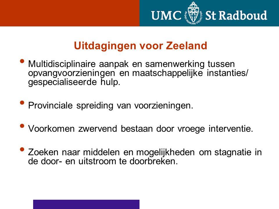 Uitdagingen voor Zeeland Multidisciplinaire aanpak en samenwerking tussen opvangvoorzieningen en maatschappelijke instanties/ gespecialiseerde hulp.
