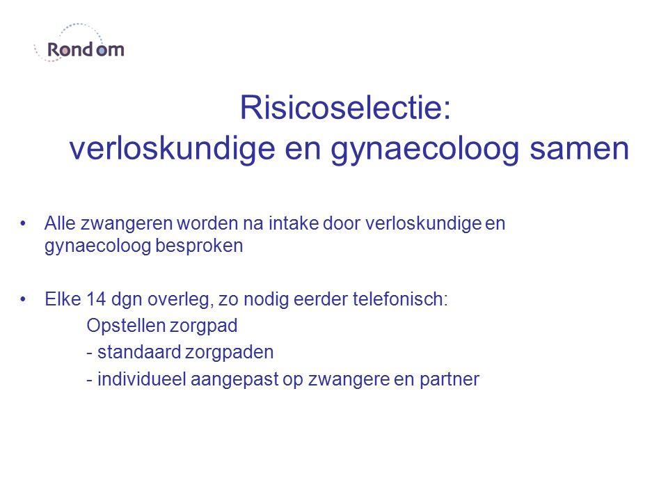 Risicoselectie: verloskundige en gynaecoloog samen Alle zwangeren worden na intake door verloskundige en gynaecoloog besproken Elke 14 dgn overleg, zo