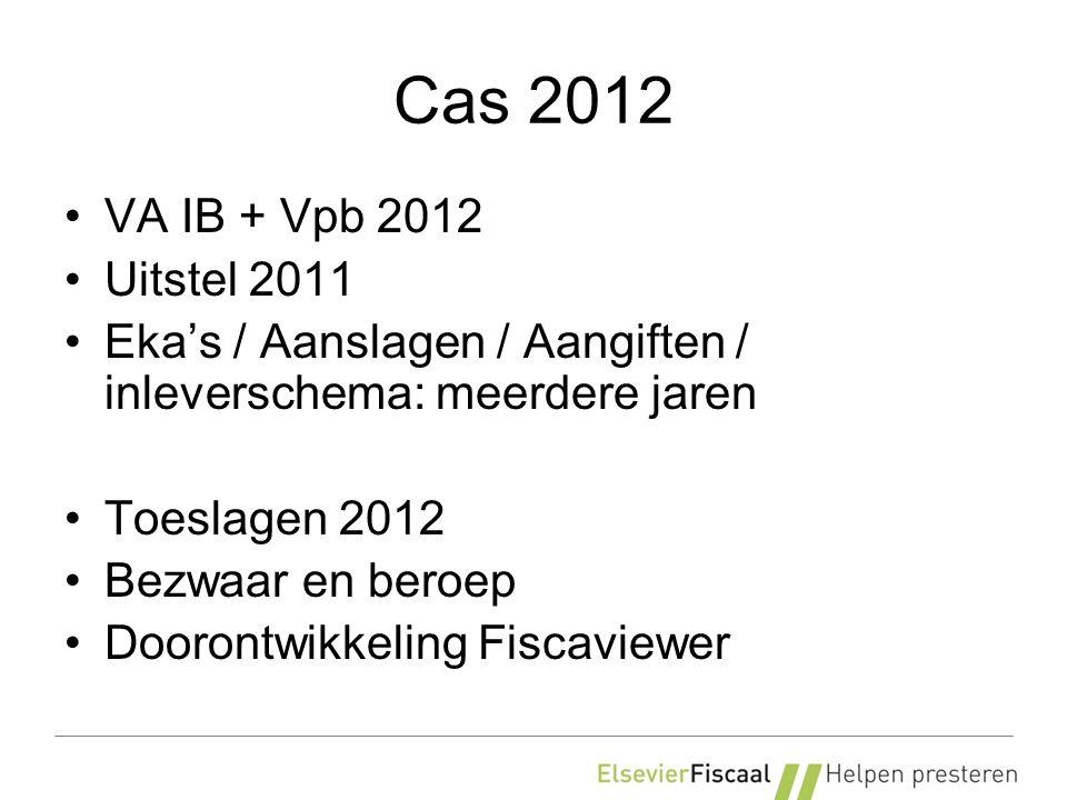 Cas 2012 VA IB + Vpb 2012 Uitstel 2011 Eka's / Aanslagen / Aangiften / inleverschema: meerdere jaren Toeslagen 2012 Bezwaar en beroep Doorontwikkeling Fiscaviewer