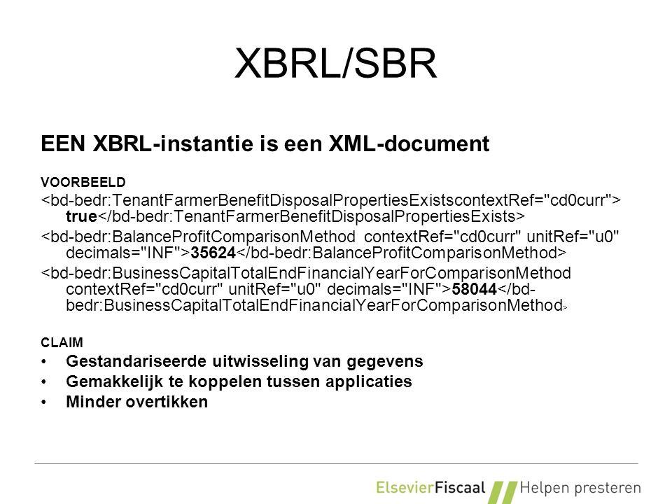 XBRL/SBR EEN XBRL-instantie is een XML-document VOORBEELD true 35624 58044 CLAIM Gestandariseerde uitwisseling van gegevens Gemakkelijk te koppelen tussen applicaties Minder overtikken