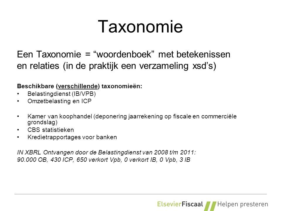 Taxonomie Een Taxonomie = woordenboek met betekenissen en relaties (in de praktijk een verzameling xsd's) Beschikbare (verschillende) taxonomieën: Belastingdienst (IB/VPB) Omzetbelasting en ICP Kamer van koophandel (deponering jaarrekening op fiscale en commerciële grondslag) CBS statistieken Kredietrapportages voor banken IN XBRL Ontvangen door de Belastingdienst van 2008 t/m 2011: 90.000 OB, 430 ICP, 650 verkort Vpb, 0 verkort IB, 0 Vpb, 3 IB