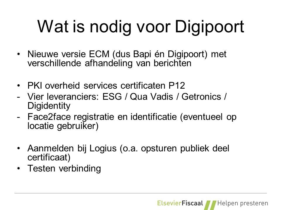 Wat is nodig voor Digipoort Nieuwe versie ECM (dus Bapi én Digipoort) met verschillende afhandeling van berichten PKI overheid services certificaten P12 -Vier leveranciers: ESG / Qua Vadis / Getronics / Digidentity -Face2face registratie en identificatie (eventueel op locatie gebruiker) Aanmelden bij Logius (o.a.
