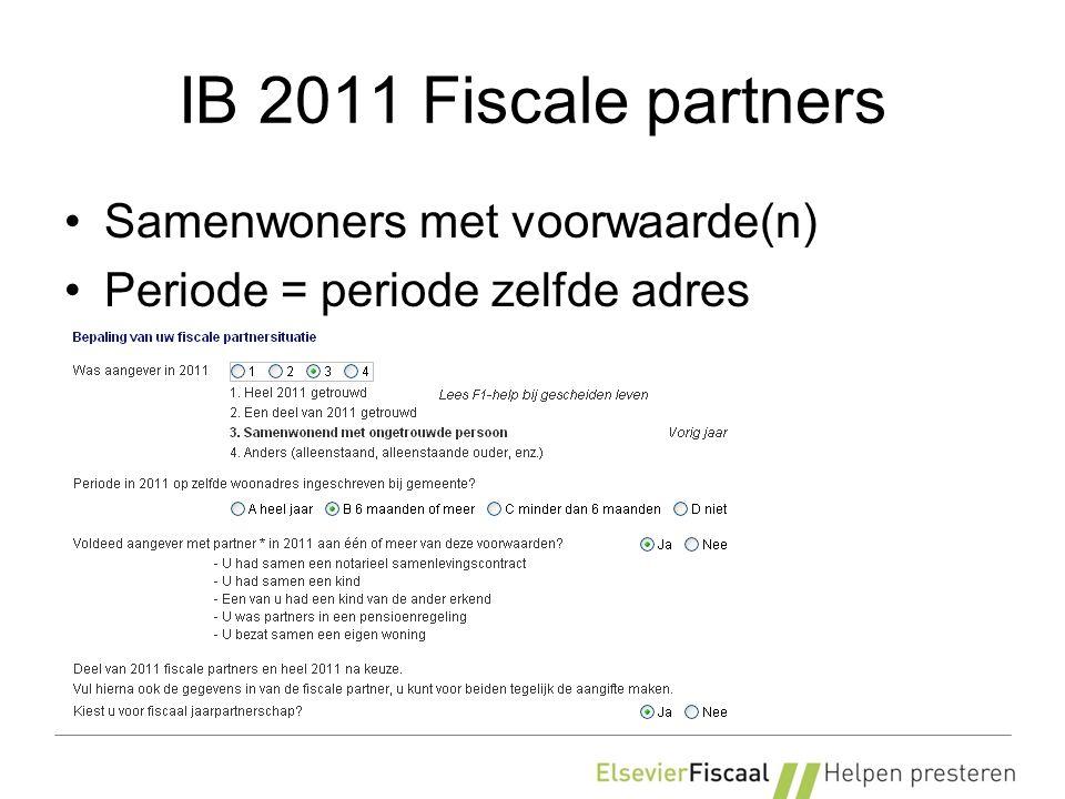 IB 2011 Box 3 Peildatum = 1 januari 2011 (31/12 voor eigen gebruik) Overlijden + jaarpartners: samenvoegen Overlijden (geen jaarpartners): heel jaar.