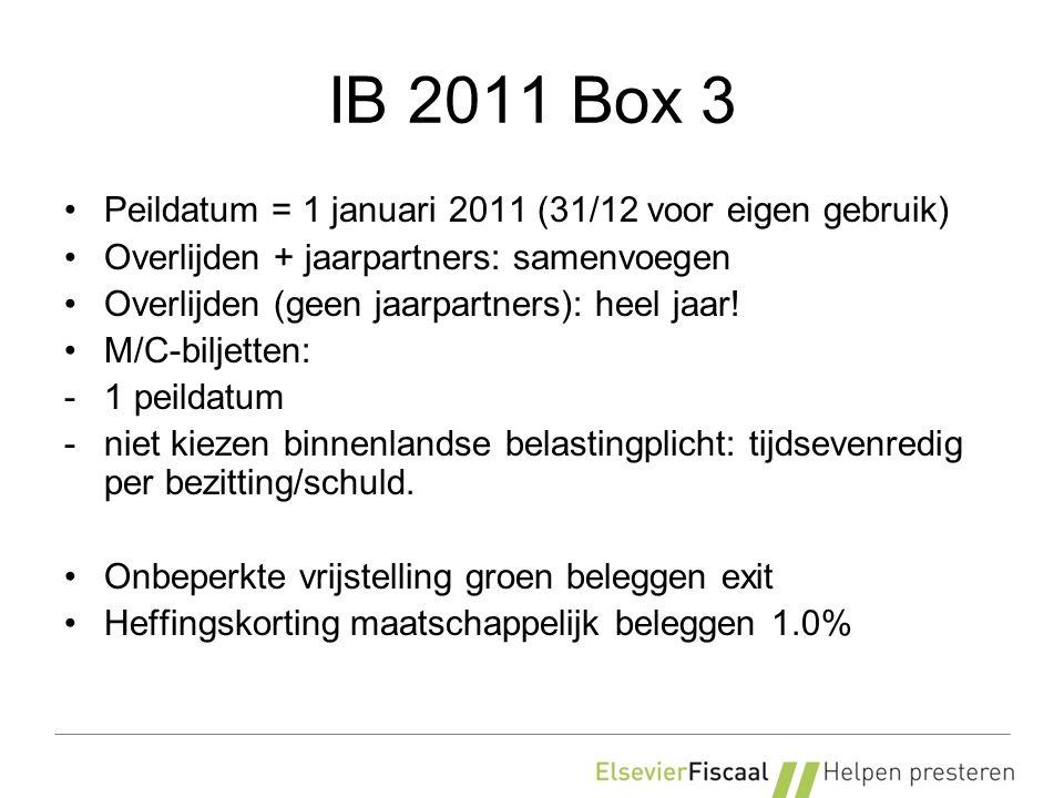 IB 2011 Box 3 Peildatum = 1 januari 2011 (31/12 voor eigen gebruik) Overlijden + jaarpartners: samenvoegen Overlijden (geen jaarpartners): heel jaar!