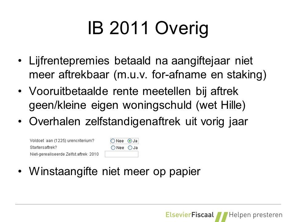 IB 2011 Overig Lijfrentepremies betaald na aangiftejaar niet meer aftrekbaar (m.u.v. for-afname en staking) Vooruitbetaalde rente meetellen bij aftrek