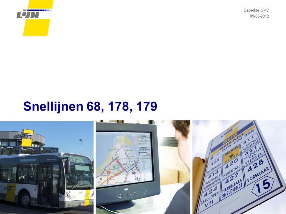 Data 05-06-2012Beperkte OVC snellijnen Dia 12 Bezettingscijfers  Gemiddelde bezetting, tellingen ritniveau najaar 2009: L68: 42 reizigers/rit in de week (enkel woon-werk) L178: 34 reizigers/rit in de week (enkel woon-werk) L179: 39 reizigers/rit in het weekend (enkel studenten)  Gemiddelde bezetting, tellingen halteniveau voorjaar 2012: L68: 50 reizigers/rit in de week (enkel woon-werk, enkel terugritten) L178: 24 reizigers/rit in de week (enkel woon-werk, enkel terugritten) L179: /