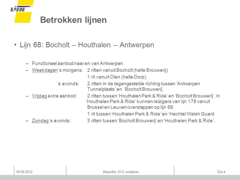 05-06-2012Beperkte OVC snellijnen Dia 5 Betrokken lijnen Lijn 178: Maaseik – Houthalen – Leuven – Brussel −Functioneel aanbod naar en van Leuven & Brussel −Gericht op o.a.