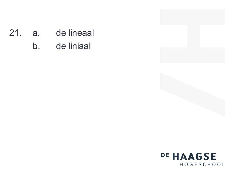 21.a.de lineaal b.de liniaal