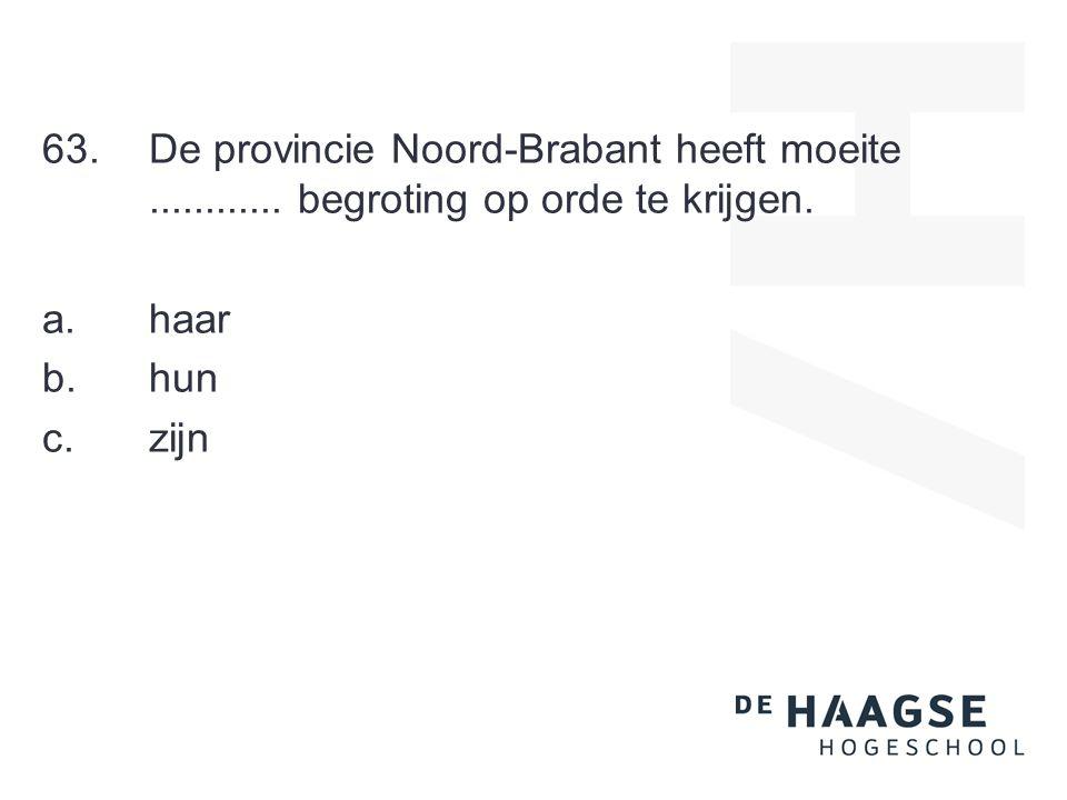 63.De provincie Noord-Brabant heeft moeite............