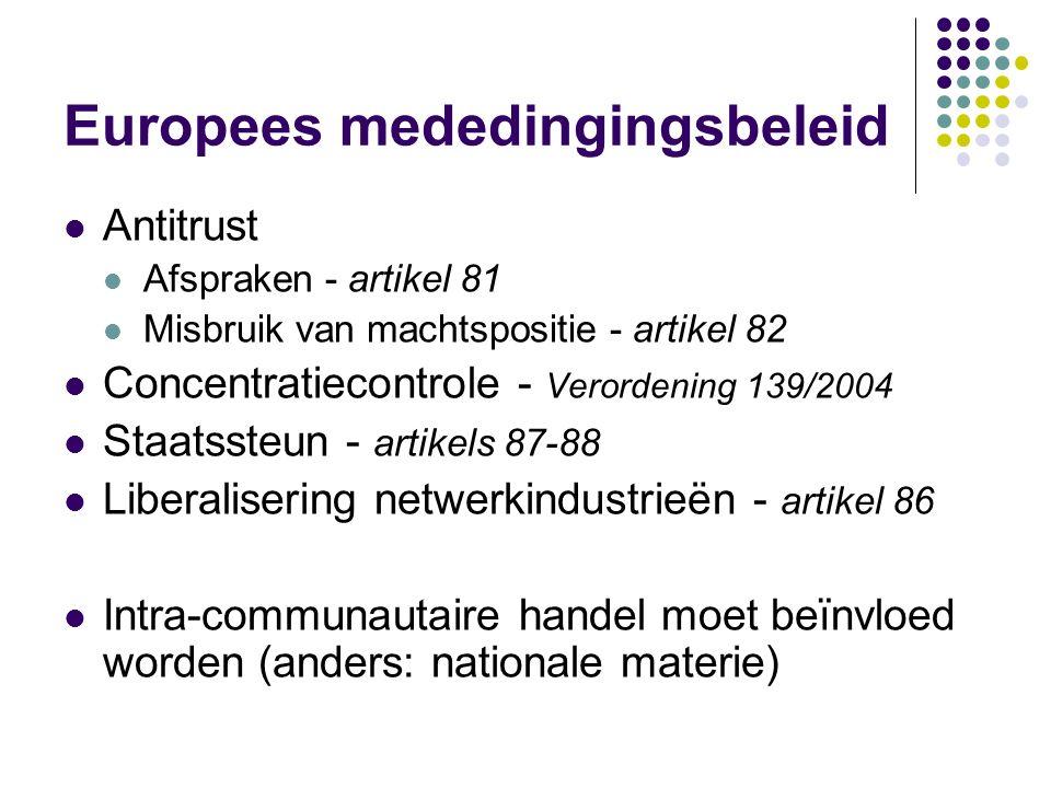 Europees mededingingsbeleid Antitrust Afspraken - artikel 81 Misbruik van machtspositie - artikel 82 Concentratiecontrole - Verordening 139/2004 Staatssteun - artikels 87-88 Liberalisering netwerkindustrieën - artikel 86 Intra-communautaire handel moet beïnvloed worden (anders: nationale materie)