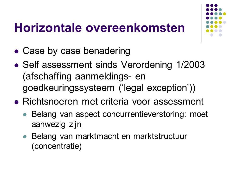 Horizontale overeenkomsten Case by case benadering Self assessment sinds Verordening 1/2003 (afschaffing aanmeldings- en goedkeuringssysteem ('legal exception')) Richtsnoeren met criteria voor assessment Belang van aspect concurrentieverstoring: moet aanwezig zijn Belang van marktmacht en marktstructuur (concentratie)