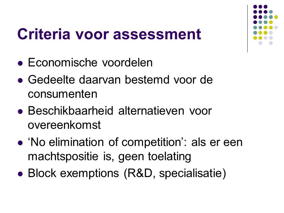 Criteria voor assessment Economische voordelen Gedeelte daarvan bestemd voor de consumenten Beschikbaarheid alternatieven voor overeenkomst 'No elimin