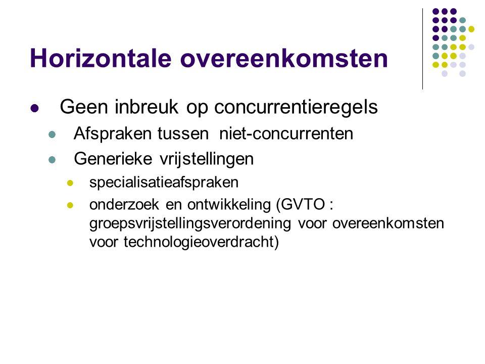Horizontale overeenkomsten Geen inbreuk op concurrentieregels Afspraken tussen niet-concurrenten Generieke vrijstellingen specialisatieafspraken onderzoek en ontwikkeling (GVTO : groepsvrijstellingsverordening voor overeenkomsten voor technologieoverdracht)