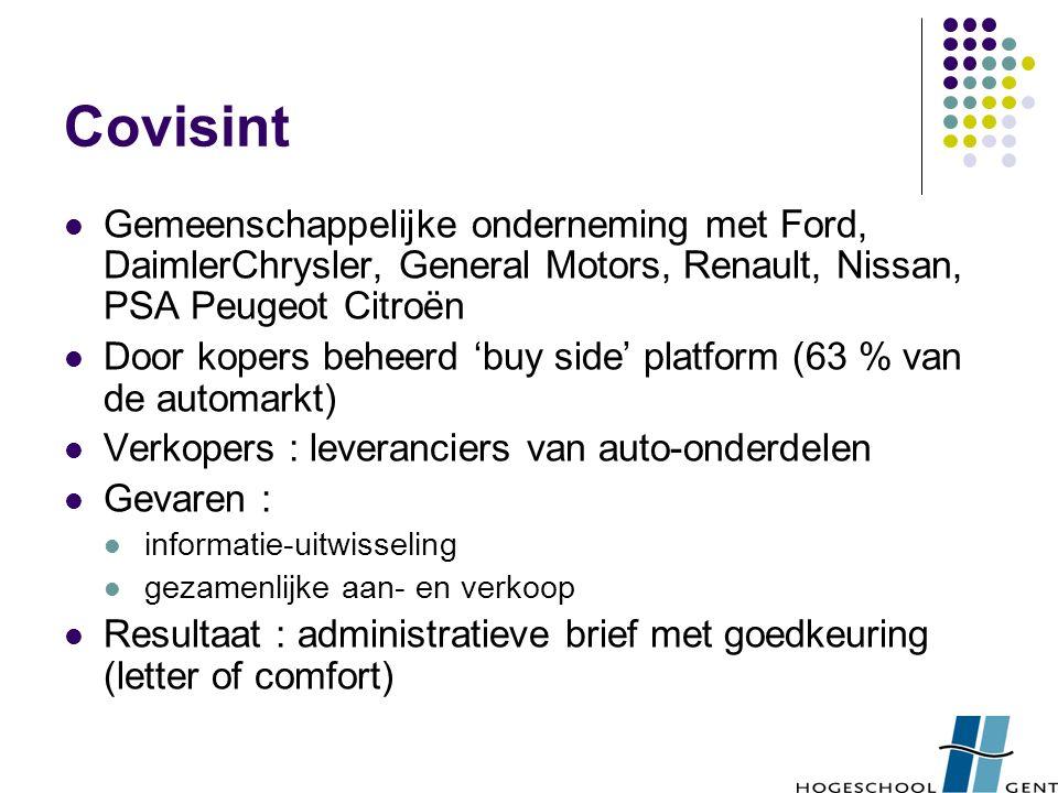 Covisint Gemeenschappelijke onderneming met Ford, DaimlerChrysler, General Motors, Renault, Nissan, PSA Peugeot Citroën Door kopers beheerd 'buy side'