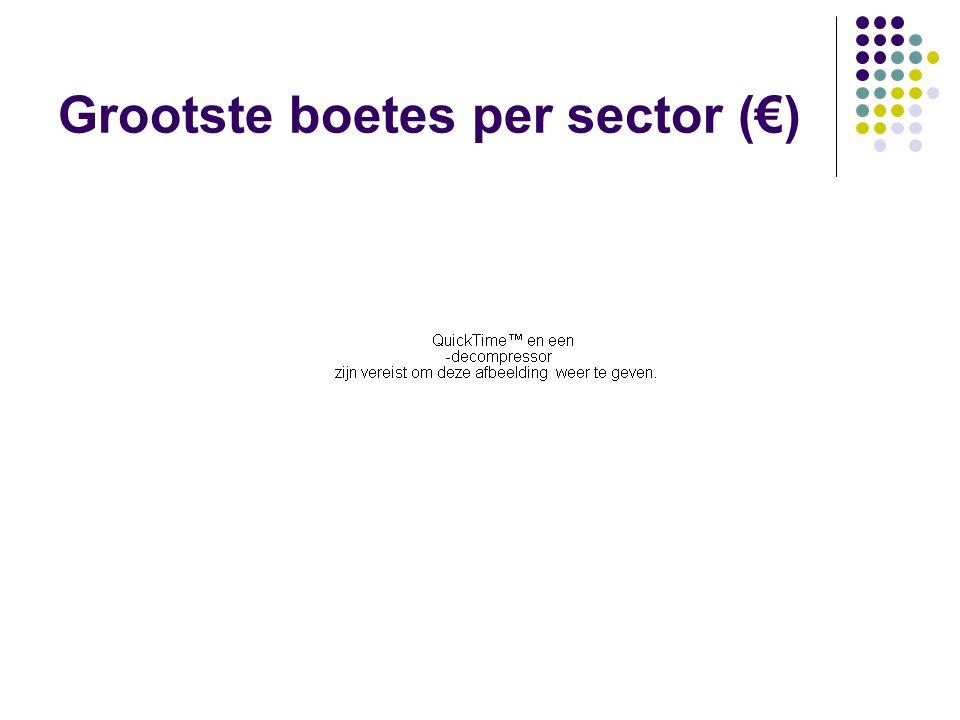 Grootste boetes per sector (€)