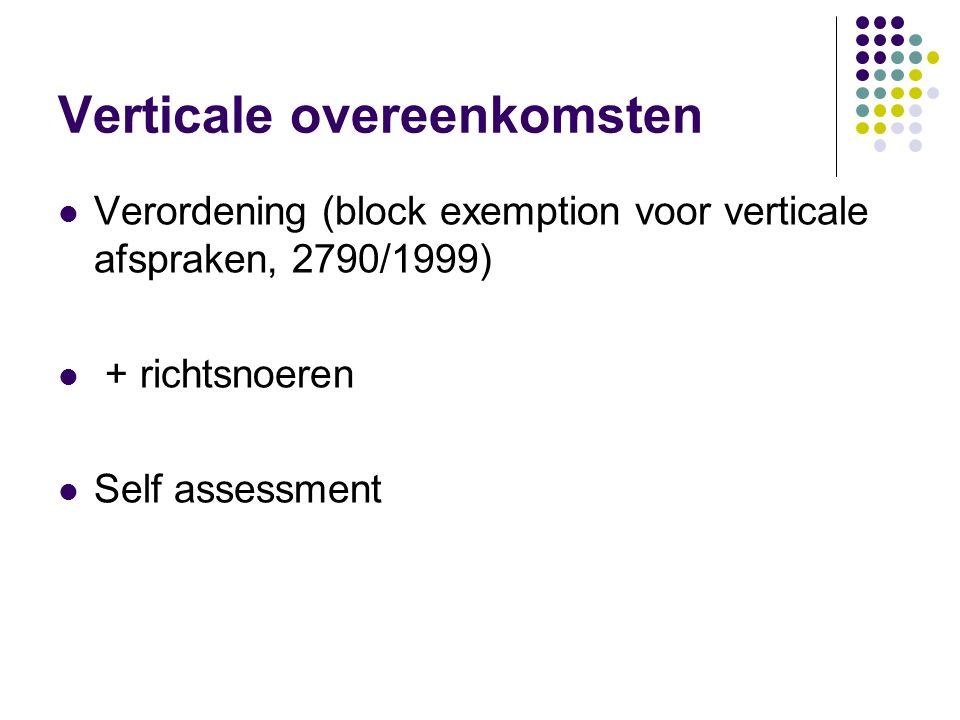 Verticale overeenkomsten Verordening (block exemption voor verticale afspraken, 2790/1999) + richtsnoeren Self assessment