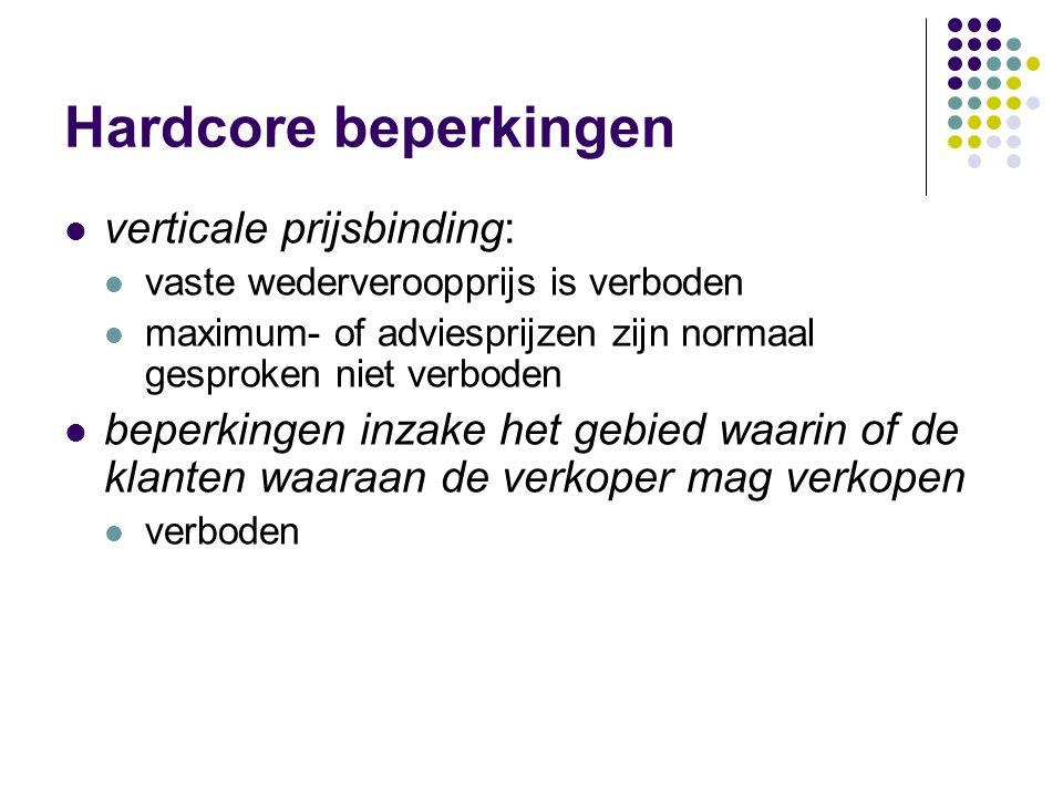 Hardcore beperkingen verticale prijsbinding: vaste wederveroopprijs is verboden maximum- of adviesprijzen zijn normaal gesproken niet verboden beperkingen inzake het gebied waarin of de klanten waaraan de verkoper mag verkopen verboden