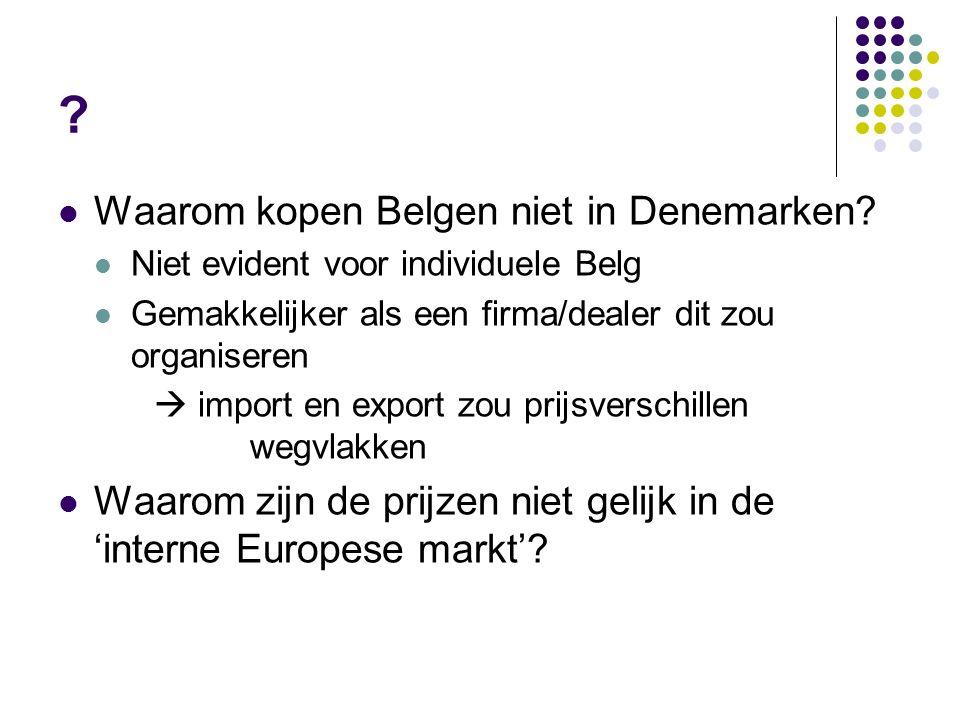 ? Waarom kopen Belgen niet in Denemarken? Niet evident voor individuele Belg Gemakkelijker als een firma/dealer dit zou organiseren  import en export