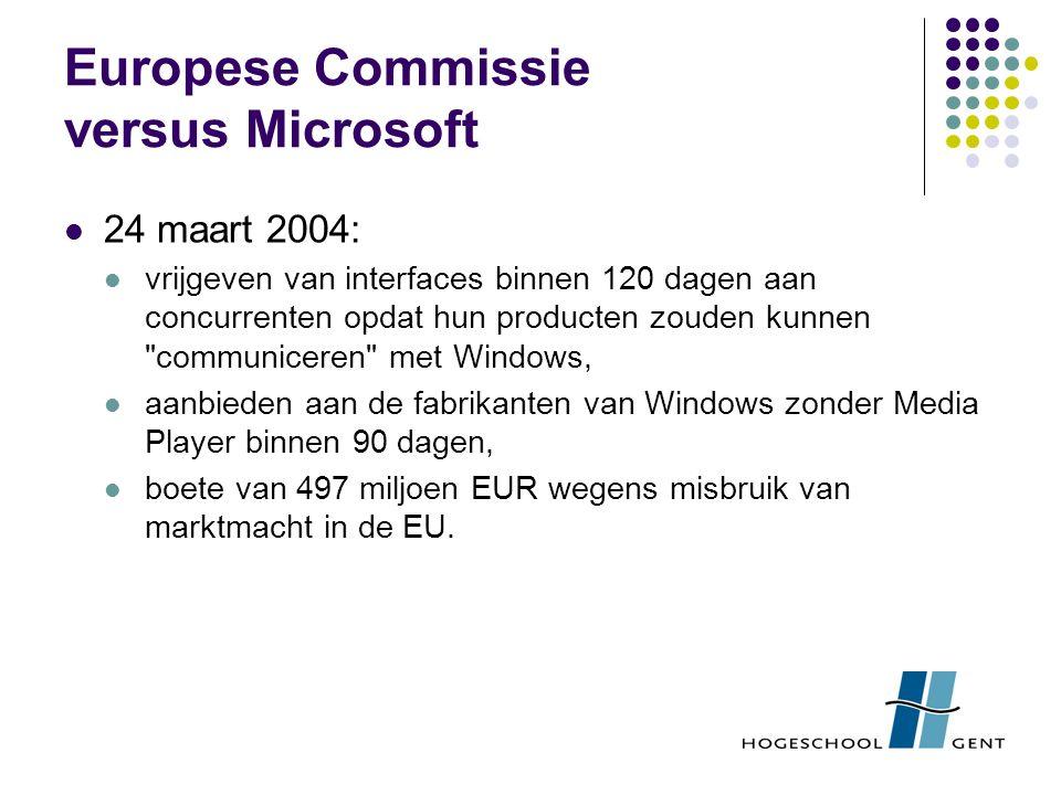 Europese Commissie versus Microsoft 24 maart 2004: vrijgeven van interfaces binnen 120 dagen aan concurrenten opdat hun producten zouden kunnen communiceren met Windows, aanbieden aan de fabrikanten van Windows zonder Media Player binnen 90 dagen, boete van 497 miljoen EUR wegens misbruik van marktmacht in de EU.