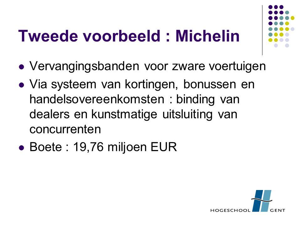 Tweede voorbeeld : Michelin Vervangingsbanden voor zware voertuigen Via systeem van kortingen, bonussen en handelsovereenkomsten : binding van dealers en kunstmatige uitsluiting van concurrenten Boete : 19,76 miljoen EUR
