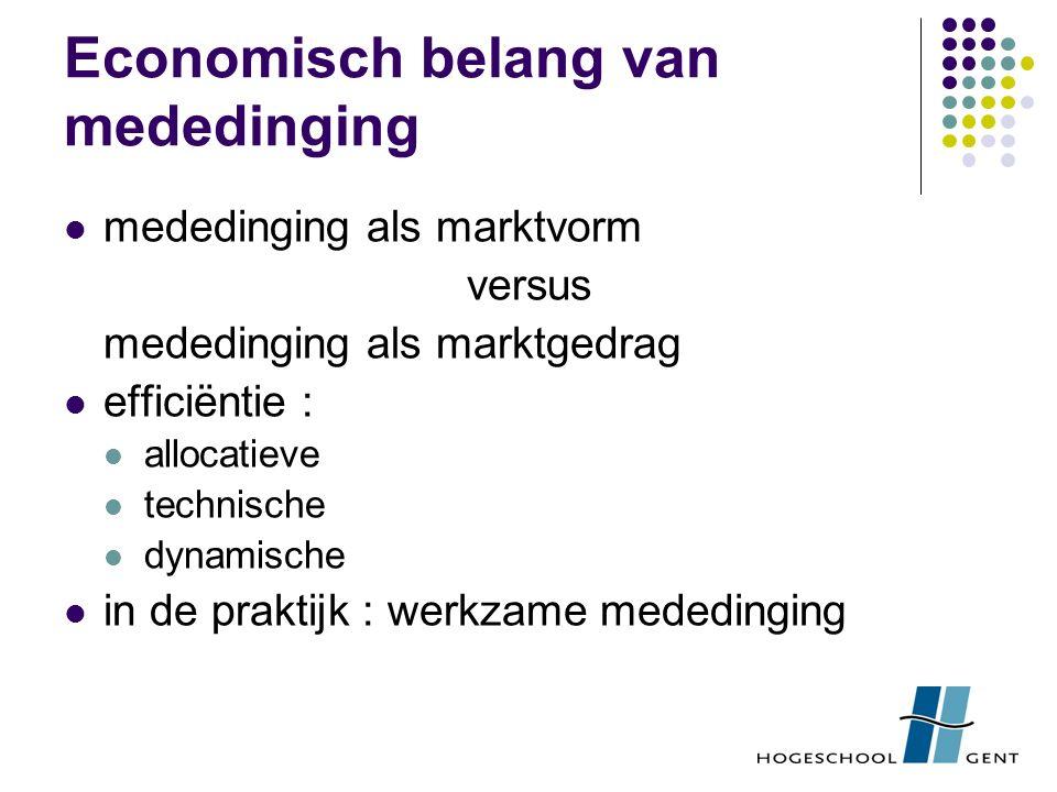 Economisch belang van mededinging mededinging als marktvorm versus mededinging als marktgedrag efficiëntie : allocatieve technische dynamische in de p
