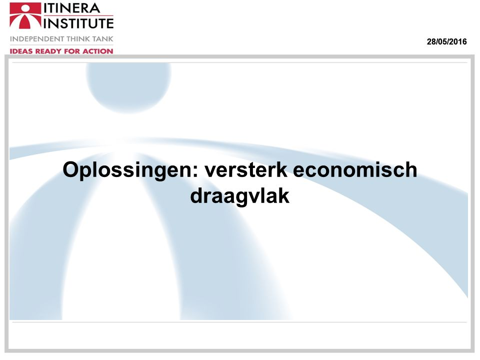 28/05/2016 Oplossingen: versterk economisch draagvlak